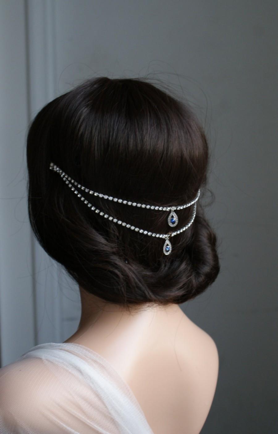 Wedding - Wedding Headpiece, Sapphire Blue crystal, Bohemian Headchain Accessory, Something Blue hair accessory, back headpiece bun accessory
