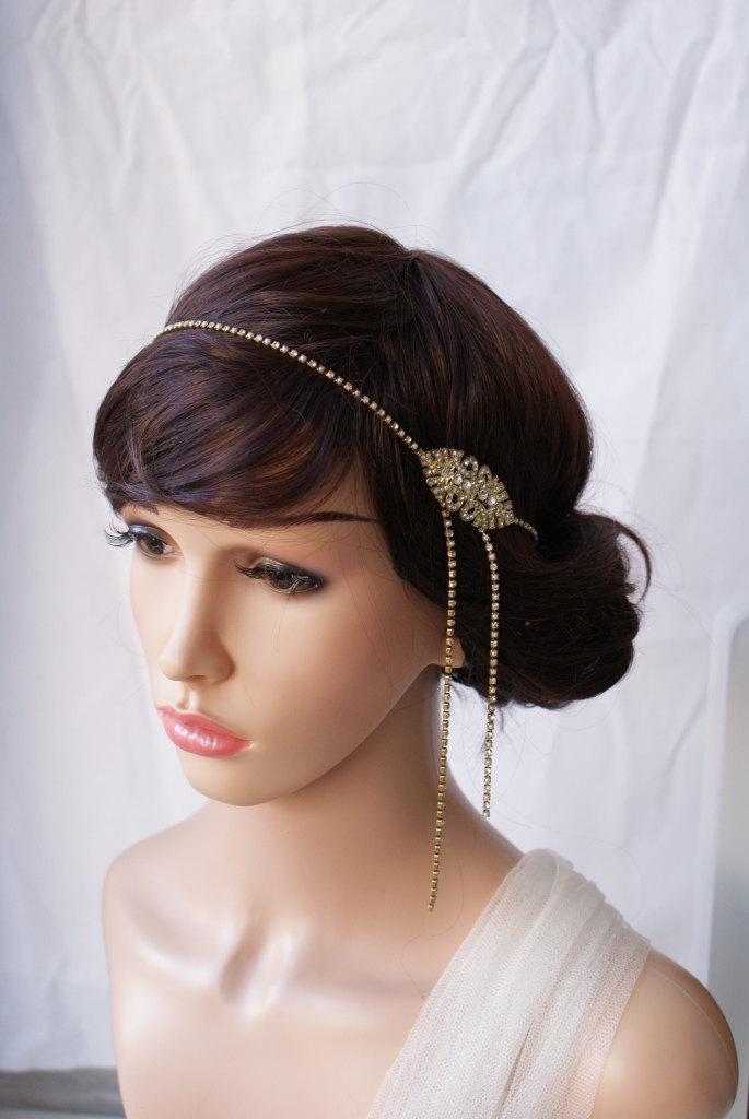 Hochzeit - 1920s Wedding Headpiece - Gold Art Deco Hair Accessory -Gold Bridal Head chain- Downton abbey, 1920s wedding dress
