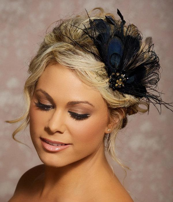 Black Peacock Hair Clip Bridal Head Piece Peacock Feather Fascinator Wedding Hairpiece Hair ...