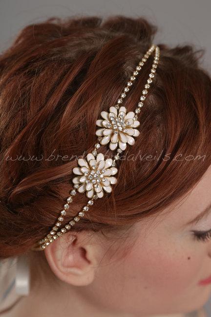 Hochzeit - Gold Rhinestone Headband, Gold Metal Flower Bohemian Headband, Rhinestone Chain Hairpiece, Bridal Headband - Abigail