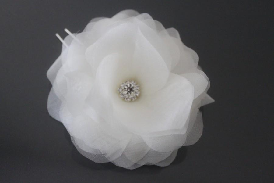 Свадьба - Bridal Hair Flower, Bridal Hair Pin, Silk Hair Flower, White, Off White, Ivory, Blush Pink, Champagne-Style No.536