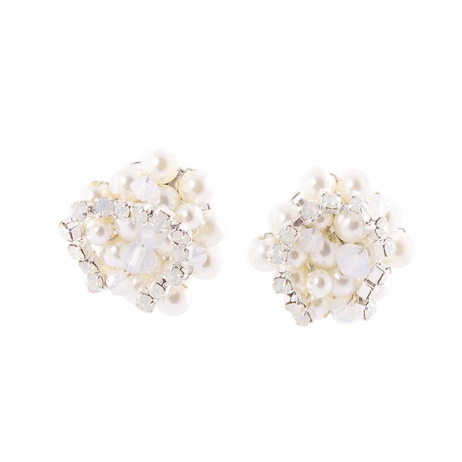e602c2b97 Wedding Pearl Earrings White Opal Swarovski Crystal Cluster Stud Earrings  Bridesmaid Jewelry