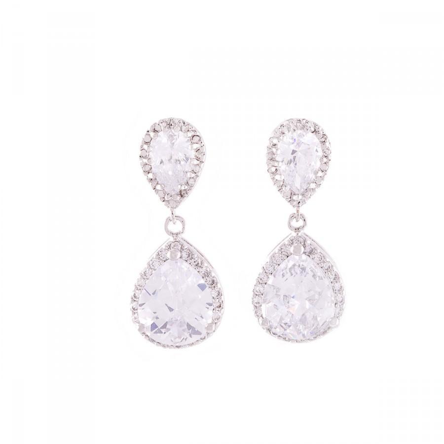 Mariage - Wedding  Earrings , CZ Bridal Earrings , Bridal  Earrings , Silver Bridal Earrings , Wedding Jewelry , Teardrop Crystal  Earrings