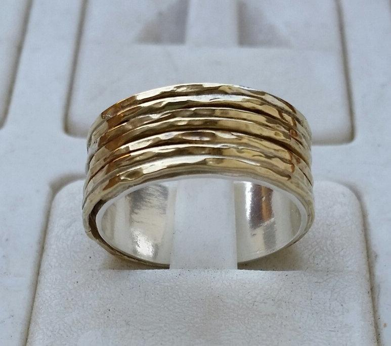 Mariage - Silver and Gold Ring Sterling Silver 925 & 14K Yellow Gold Wedding Band Handmade Artisan Crafted Size 7.5 Bride Women