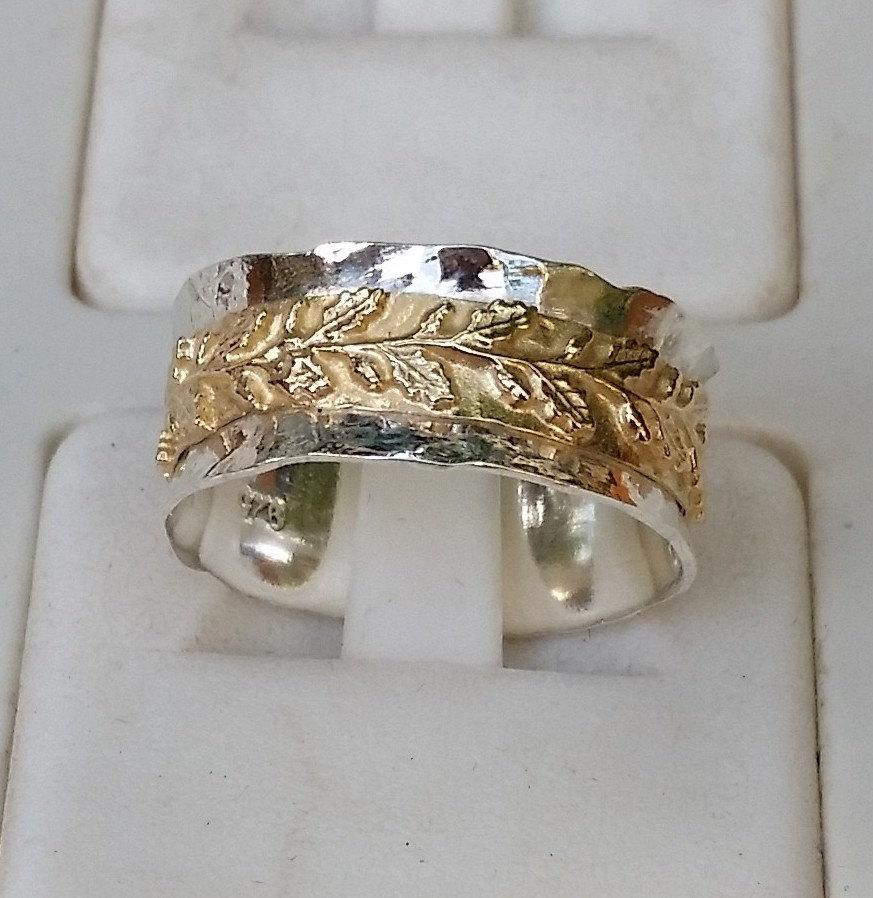 silver and gold wedding ring sterling silver 925 14k gold wedding band handmade artisan crafted leavs texture women size 8 free shipping - Gold And Silver Wedding Rings
