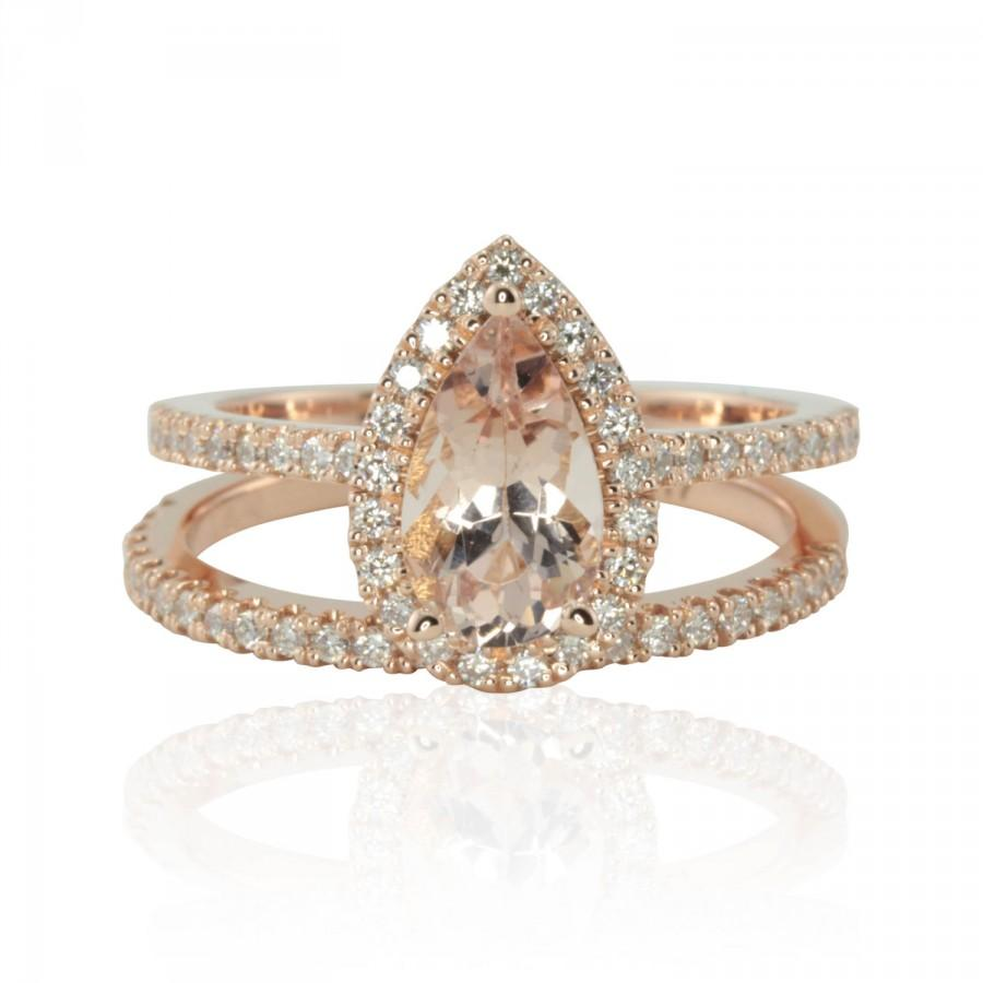 Pear Shaped Morganite Engagement Ring Pear Cut Morganite Engagement Ring Di