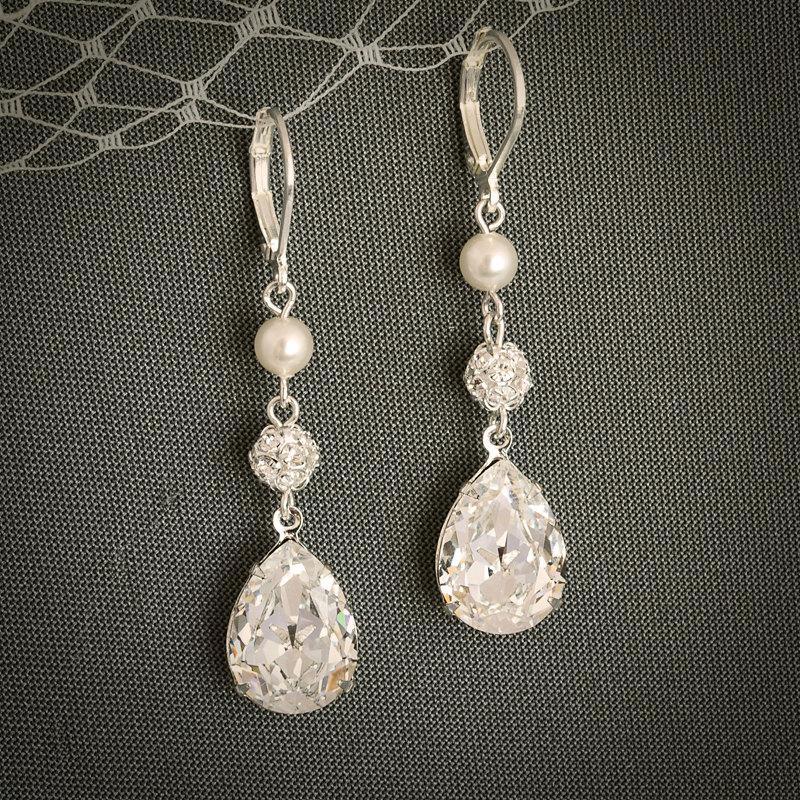 PHILBERTA Modern Vintage Style SWAROVSKI Teardrop Crystal Earrings