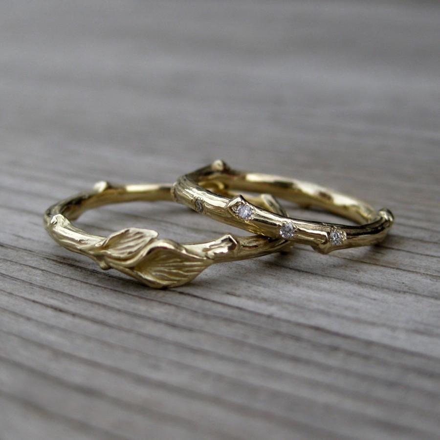 Twig Wedding Band Set Scattered Diamond Band Leaf Band Yellow