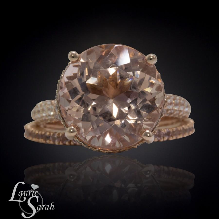 زفاف - 14k Rose Gold Peach Morganite Engagement Ring, 6 carat Peach Morganite Engagement Ring, Peach Sapphire Eternity Wedding Band - LS3919
