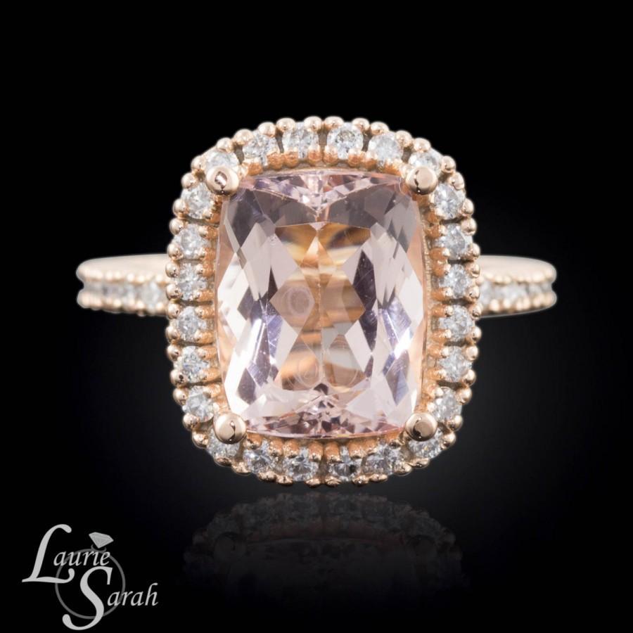 3 Carat Morganite Engagement Ring Peach Morganite Engagement Ring