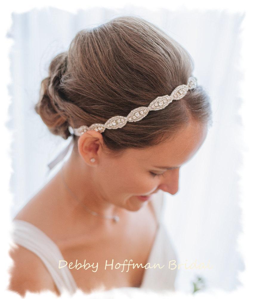 Hochzeit - Rhinestone Bridal Headband, Jeweled Headband, Boho Halo Headband, Crystal Bridal Headpiece, Ribbon Wedding Headband, Head Piece, No. 4070HB
