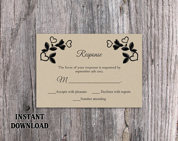 Wedding - DIY Lace Wedding RSVP Template Editable Word File Instant Download Burlap Rsvp Template Printable Vintage Rsvp Floral RSVP Card Rustic Rsvp