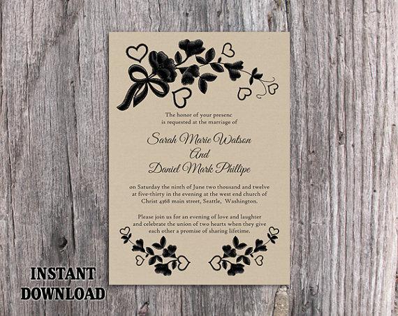 Lace Wedding Invitation Template: DIY Lace Wedding Invitation Template Editable Word File