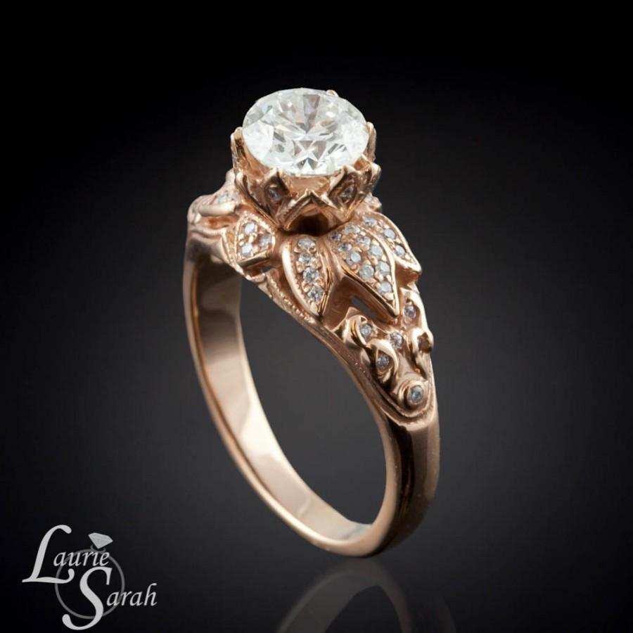 engagement lotus ring flower wedding diamond rose k sale rings round gold morganite ct set