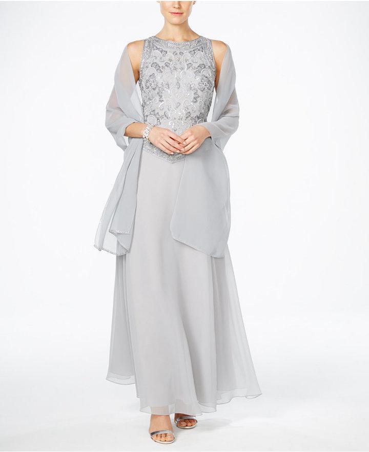 J Kara Hand-Beaded Chiffon Gown And Scarf #2473844 - Weddbook