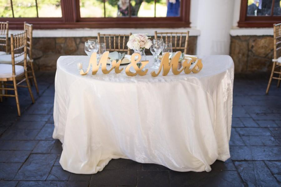 Wedding - Gold Mr and Mrs Wedding Signs Table Signs for Sweetheart Table Reception Decor, Mr and Mrs Letters, Large Thick Wooden (Item - MTS100)