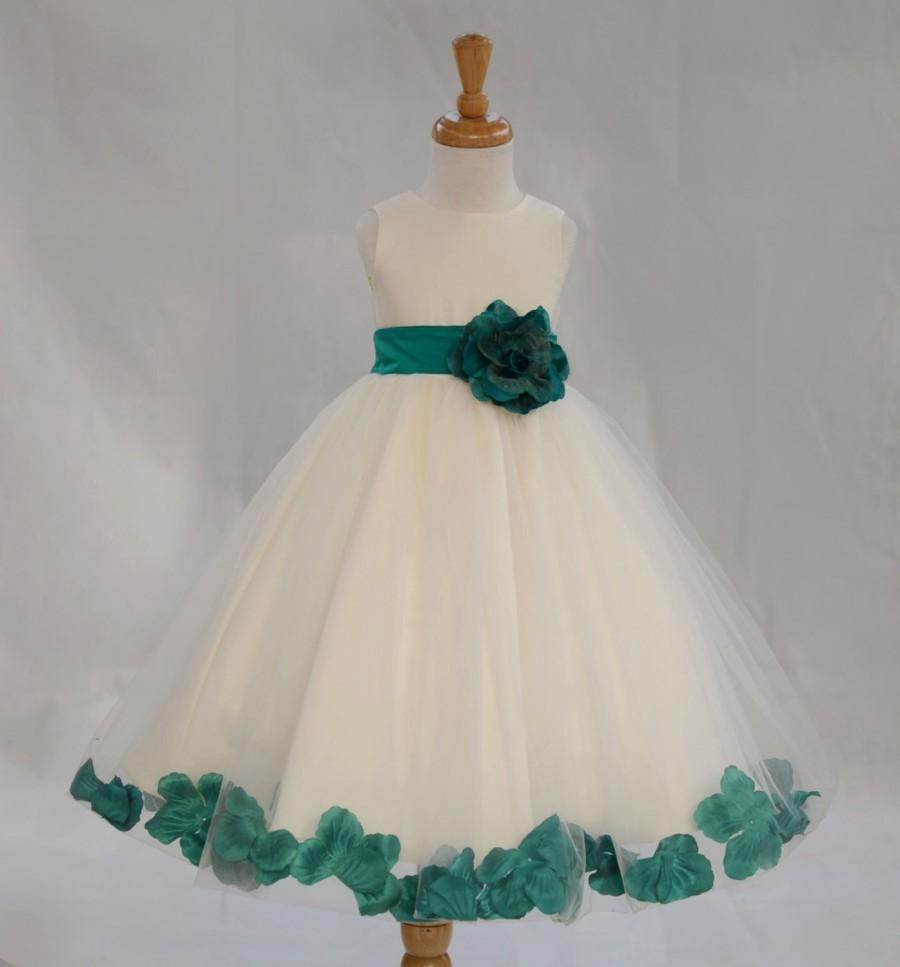 Hochzeit - Ivory / Jade (pictured) Flower Girl Dress pageant wedding bridal children bridesmaid toddler elegant sizes 6-9m 12m 2 4 6 8 10 12 14