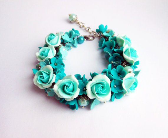 Wedding - Free shipping /Turquoise Charm Bracelet handmade of polymer clay Floral fashion bracelet with turquoise roses / Gift for girl