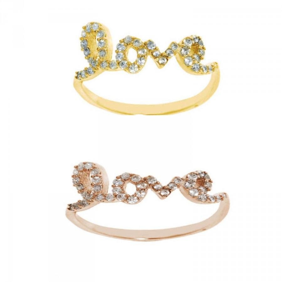 Wedding - Yellow Gold Love Ring 925 Sterling Silver Rose Gold Love Ring 0.25CT Round Clear White Topaz CZ  Valentines Gift Love Girlfriend Wife Gift