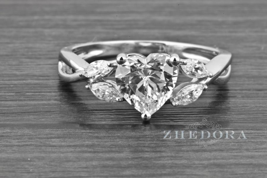 1 80 Ct Heart Cut Solitaire Engagement Wedding Love Ring Solid 14k
