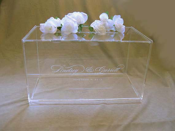 custom engraved wedding card box gift card box with personalized