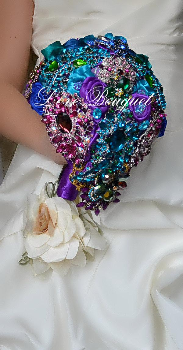 Brooch Bouquet Unique Wedding Purple Turquoise And Gold Bridal Jewelry Cascading