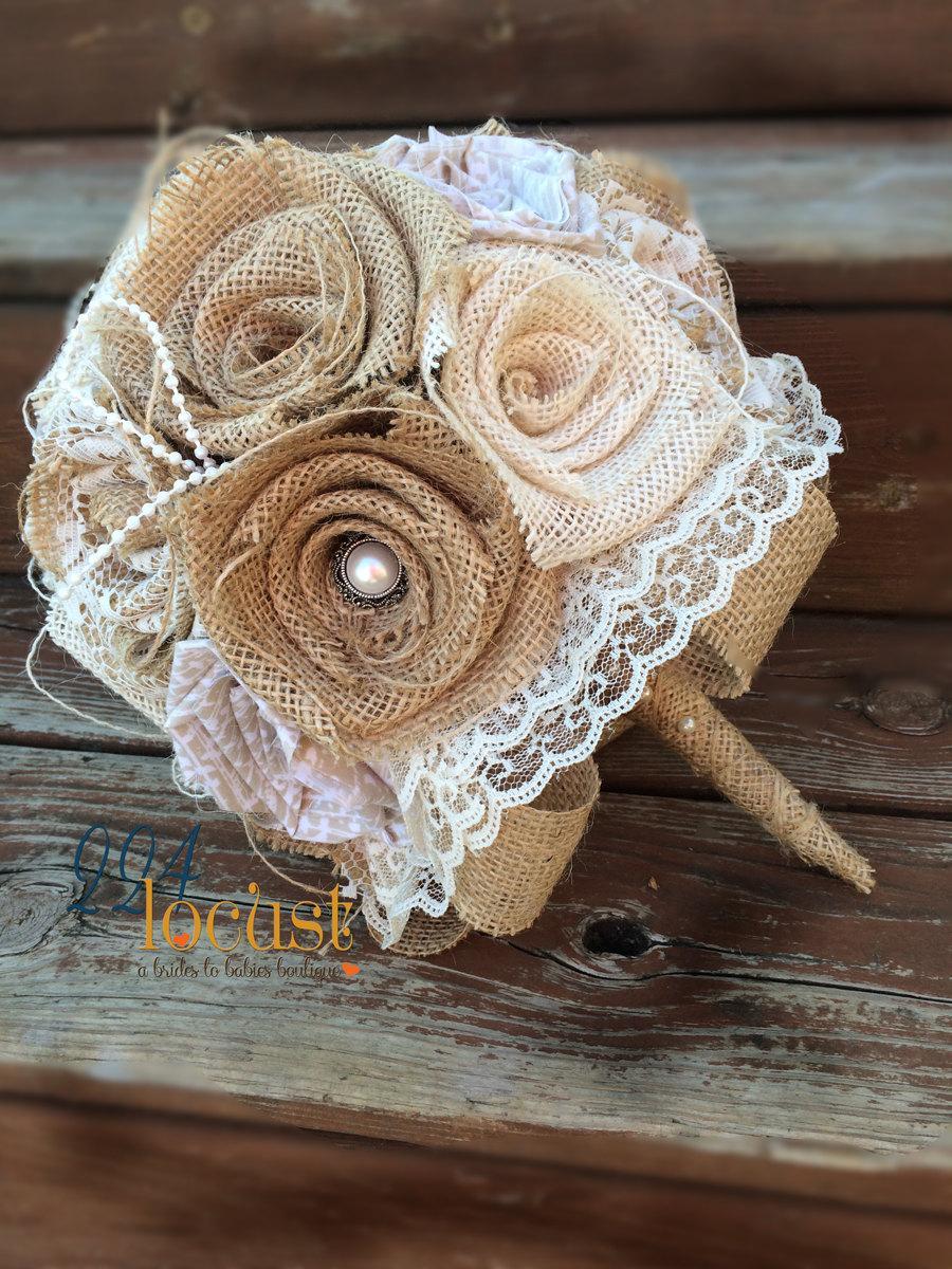زفاف - Lace Burlap Bouquet, Wedding Bouquet, Burlap Wedding Bouquet, Lace Bouquet, Burlap and Lace, Burlap, Bride, Bridesmaid Bouquet, Toss Bouquet