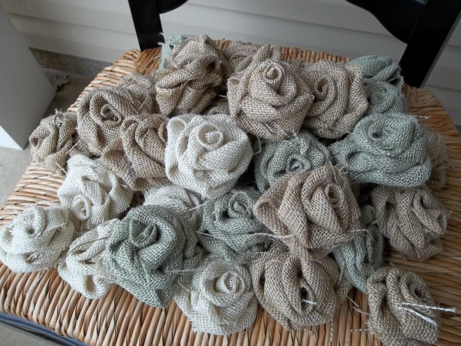 Mariage - 10 Shabby handmade Burlap Roses for wedding decor, wedding favors, rolled roses