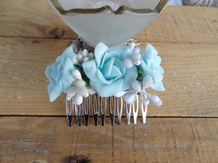 Wedding - Wedding Hair Comb , Bridal Hair Piece, Bridal Rose Hair Comb, Blue Flower Hair Comb Romantic, Hair Accessories, Bridesmaid Gifts