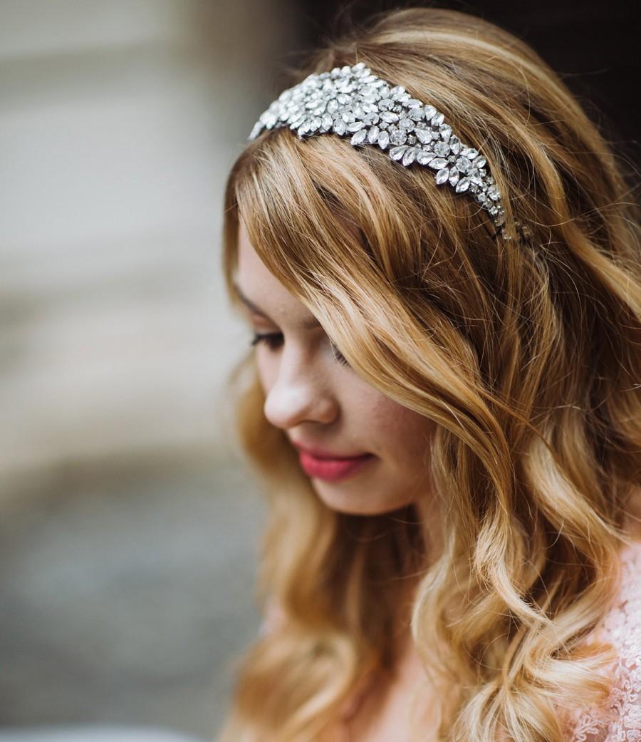 Wedding - Crusted Crystals Beaded Bridal Headpiece