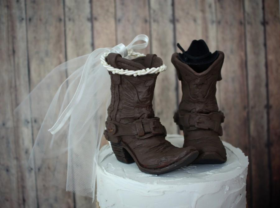 Cowgirl Wedding Ideas Part - 16: Bride and goom original design-western bride-western wedding-boots-cowboy- cowgirl-wedding cake topper-rustic wedding