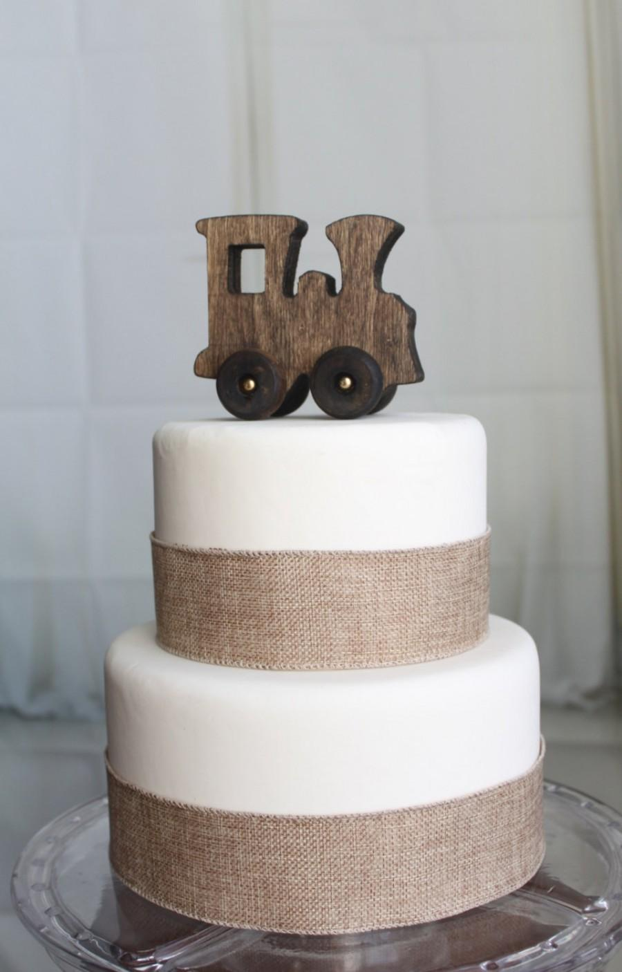Mariage - Old-fashied Wood Toy Train Cake Topper