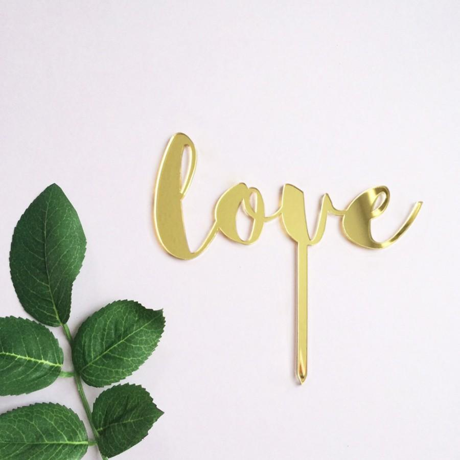 Mariage - Gold acrylic love wedding, engagement, valentine's day cake topper