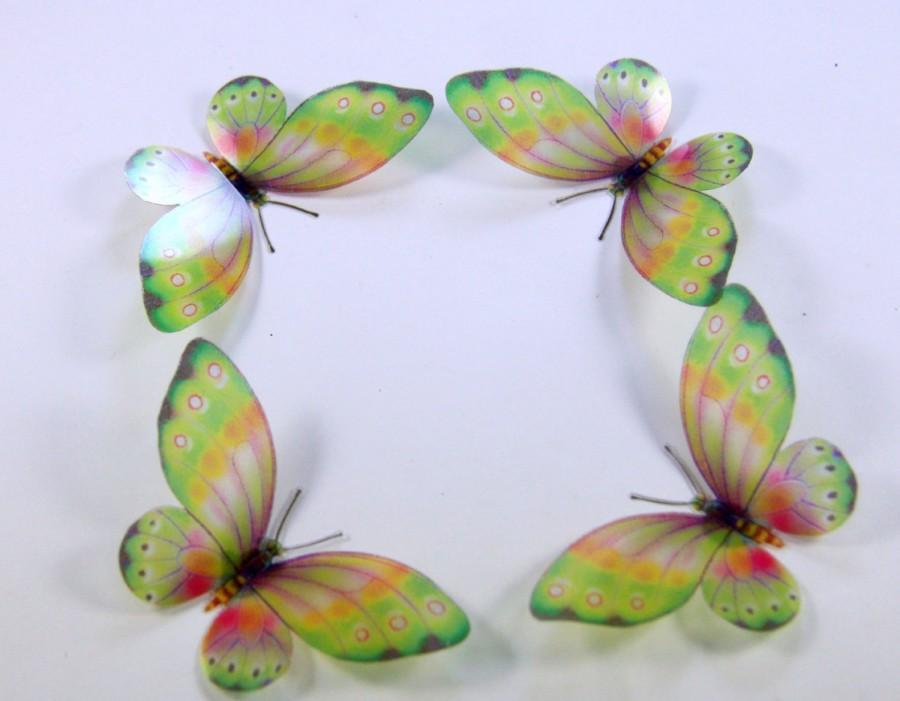 Mariage - 5 Green Stick on Butterflies, Wedding Cake Toppers, 3D Wall Art, Scrapbooking, UNGLITTERED