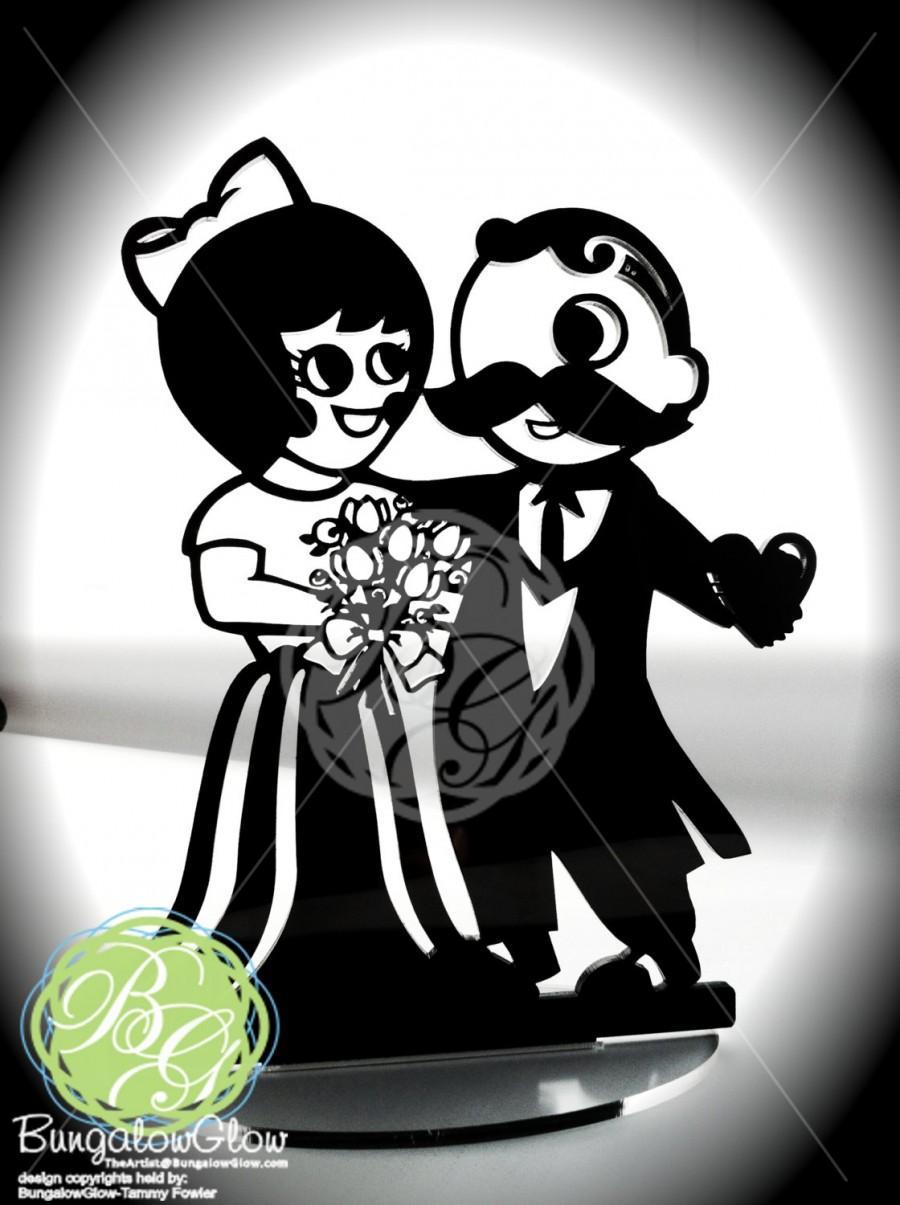 Mariage - Natty Boh & UTZ Girl Cake Topper, BLACK, Wedding, Valentine, Grooms Cake, Keepsake Topper, Anniversary, Art