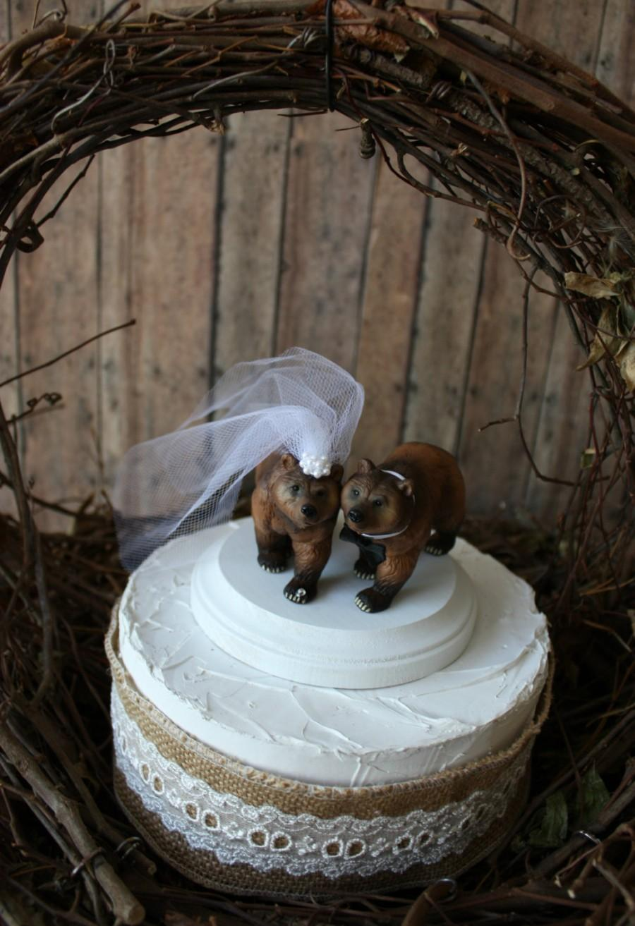 Mariage - Brown bear-wedding cake topper-wedding-grizzly bear-hunter-hunting-camo-camouflage-bear-woodland-cake topper-bear lover-bride and groom