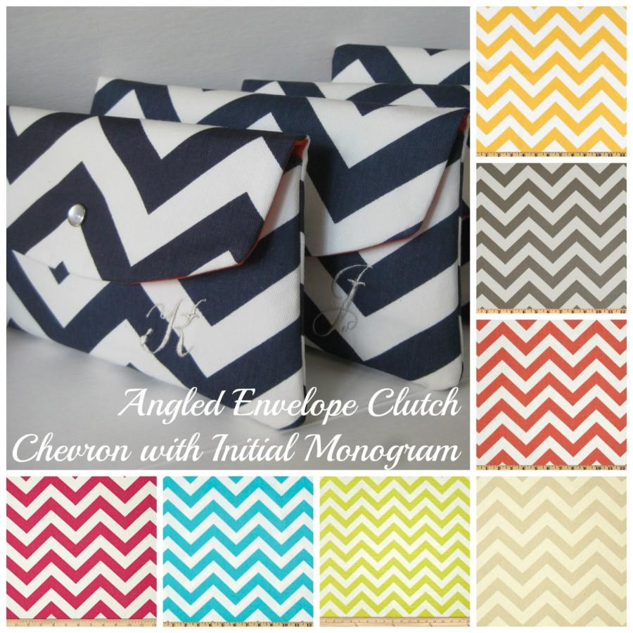 Wedding - Personalized, Monogrammed Bridesmaid Clutches in Chevron Zig Zag New Angled Envelope Clutch