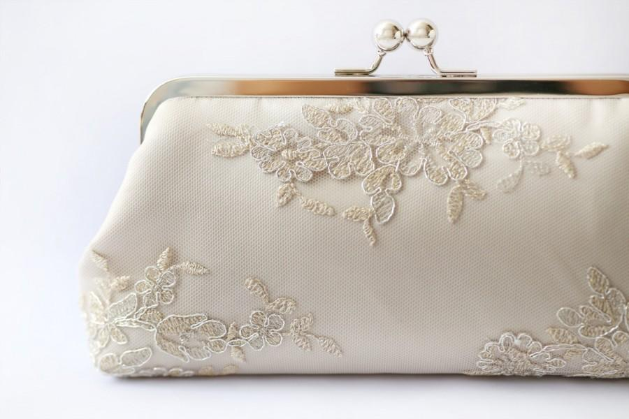 Wedding - Metallic silver and gold Alencon Lace Bridal Clutch in Champagne 8-inches