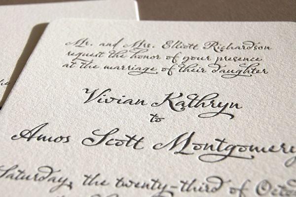 Hochzeit - Classic script, letterpress wedding invitation
