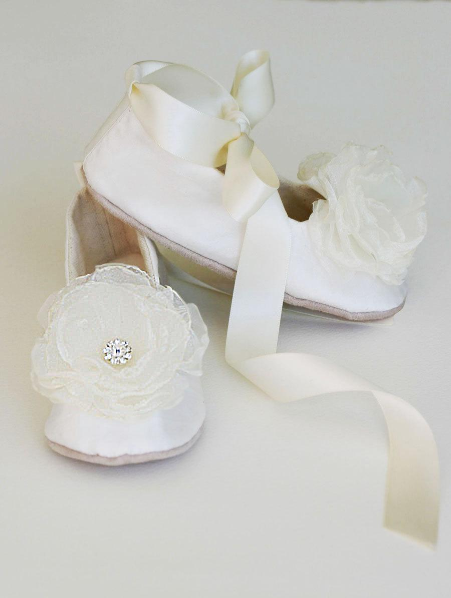 Ivory Silk Flower Girl Shoe Easter Toddler Ballet Flat Little Girl