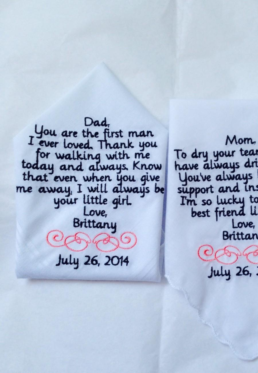 Wedding - Set of two personalized handkerchiefs mother of the bride and father of the bride gift