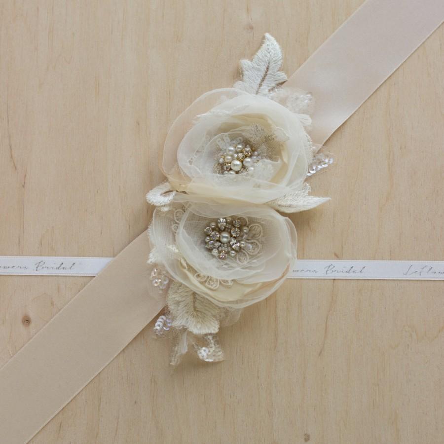 Wedding - Bridal sash, wedding belt, Gold waist sash, Champagne sash, Vintage belt, Floral bridal sash, floral wedding belt, Wedding belts sashes