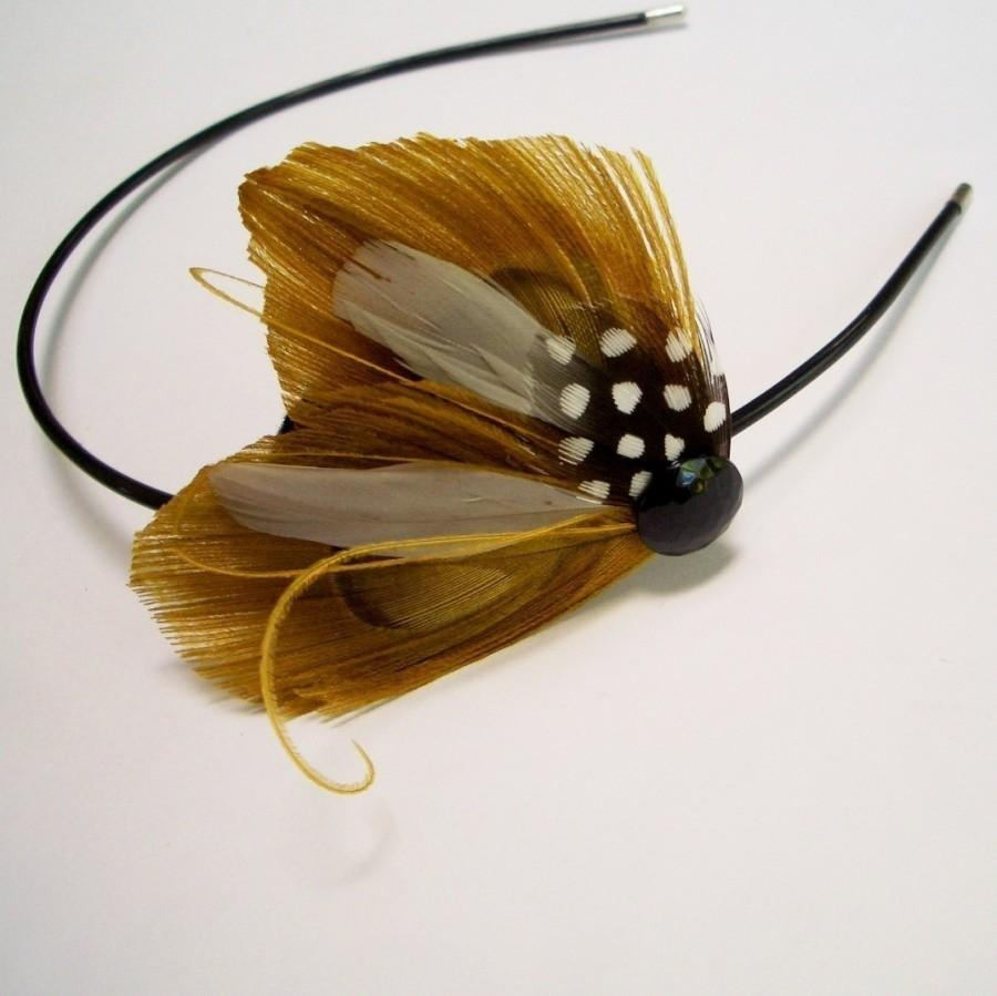 Mariage - SUMMER - Gold and Gray Peacock Feather Headband