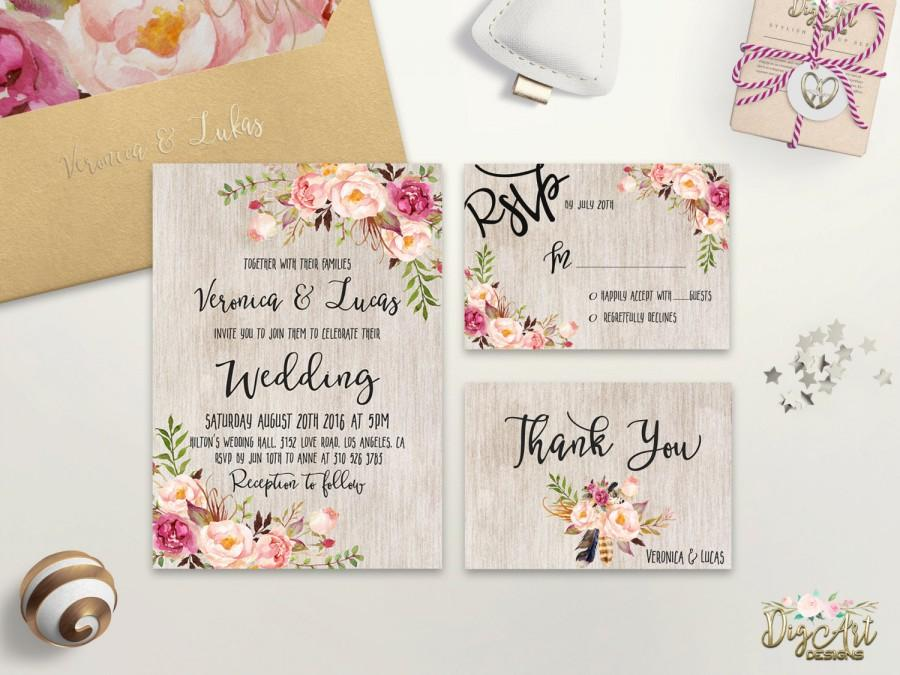 Floral wedding invitation printable boho wedding for Diy rustic chic wedding invitations free printable template ahandcraftedwedding
