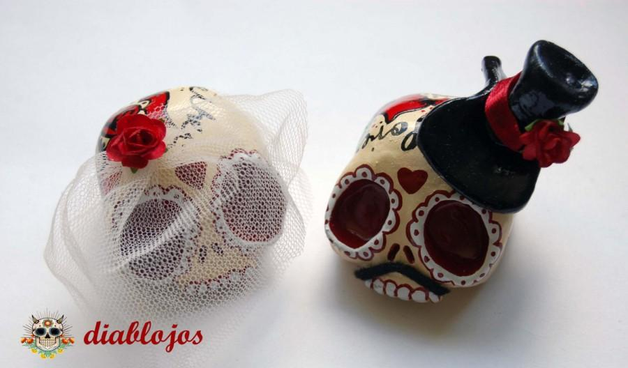 Mariage - Wedding Sugar Skulls Cake toppers Bride and Groom Mexican Day of the Dead, Dia de los Muertos