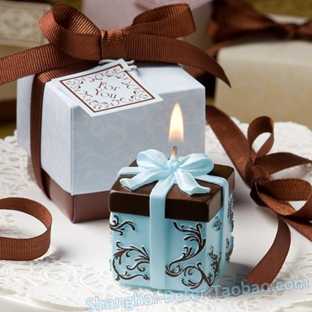 Brown And Blue Gift Box Collection Box Candle Favor Beter Lz000