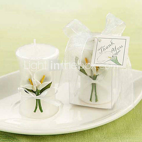 Wedding - [$2.99] Calla Lily Elegance' Vase Shaped Candle Favors© Beter Gifts