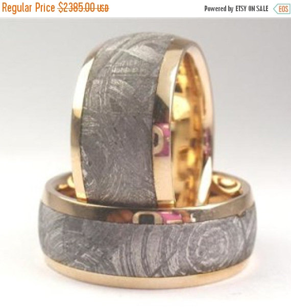 Свадьба - Wedding Sale 14K Gold Meteorite Ring Set with Widmanstatten Pattern, Wedding Band Set