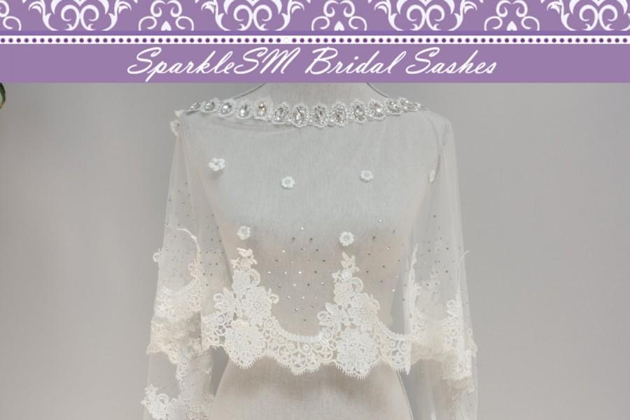 Wedding - Wedding Bolero, Wedding Cape, Bridal Cape, Lace Wedding Bolero, Bridal Lace Top, Bridal Cape, Bridal Bolero, SparkleSM Bridal Sash, Organza