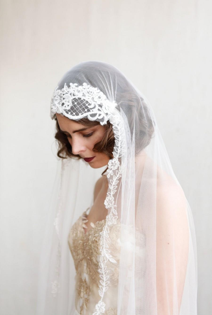 Statement Juliet Cap Veil With Lace1920s Style Ivory Chapel Length Art Deco Dramatic Wedding Cathedral